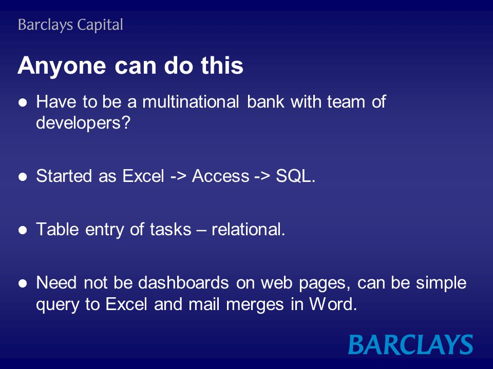 Anyone can do this Have to be a multinational bank with team of developers.
