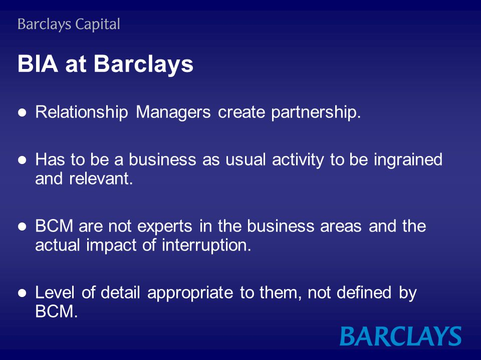BIA at Barclays Relationship Managers create partnership.