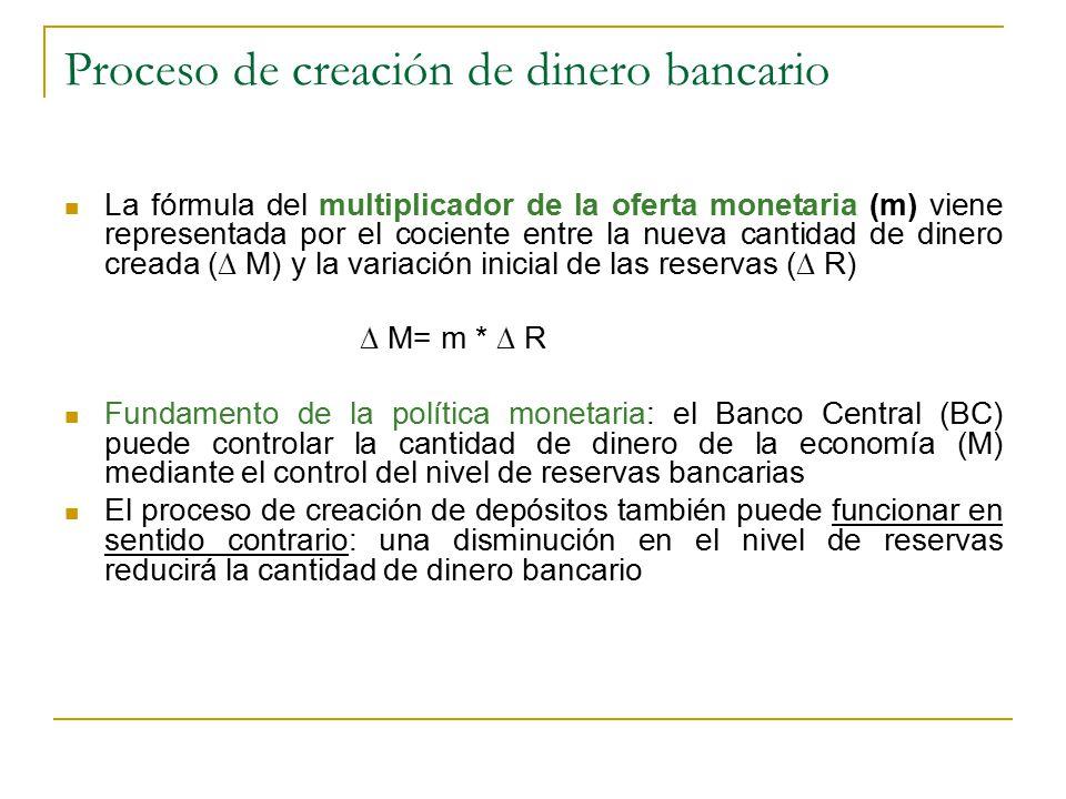 Proceso de creación de dinero bancario La fórmula del multiplicador de la oferta monetaria (m) viene representada por el cociente entre la nueva cantidad de dinero creada (∆ M) y la variación inicial de las reservas (∆ R) ∆ M= m * ∆ R Fundamento de la política monetaria: el Banco Central (BC) puede controlar la cantidad de dinero de la economía (M) mediante el control del nivel de reservas bancarias El proceso de creación de depósitos también puede funcionar en sentido contrario: una disminución en el nivel de reservas reducirá la cantidad de dinero bancario