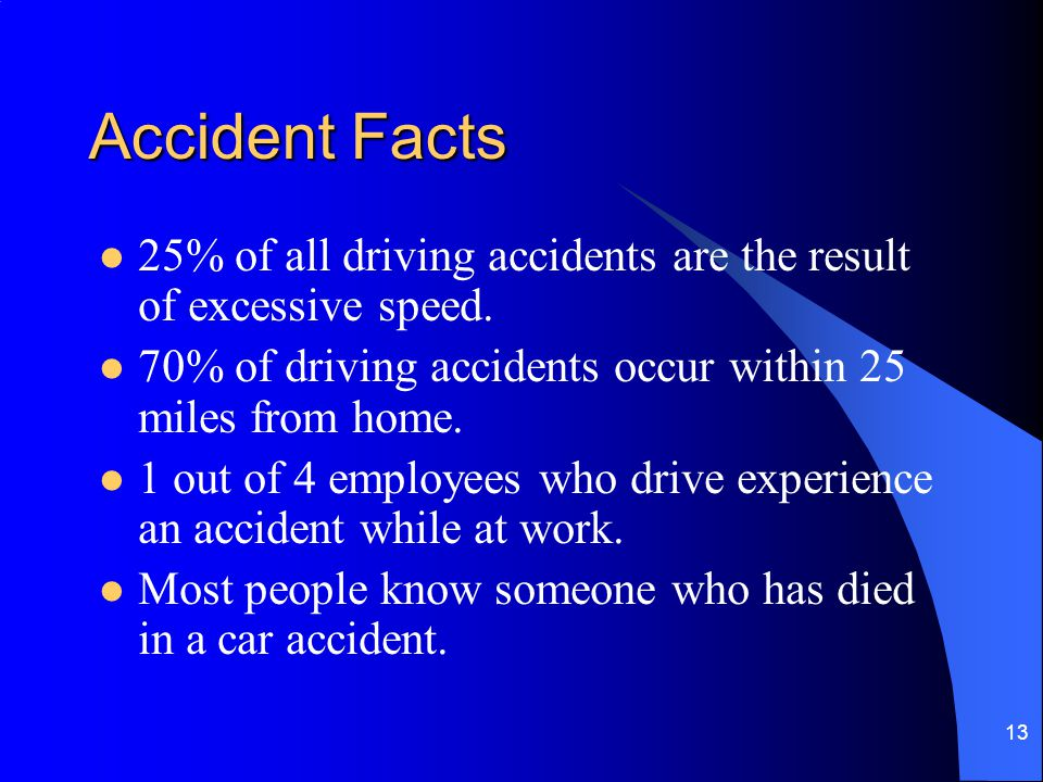 13 Accident Facts 25% of all driving accidents are the result of excessive speed. 70% of driving accidents occur within 25 miles from home. 1 out of 4
