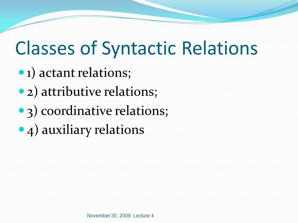 Actant Relations 1) predicative relation; 2) agentive relation; 3) completive relations (1 st completive to 5 th completive); 4) copulative relation; 5) prepositional relation etc.
