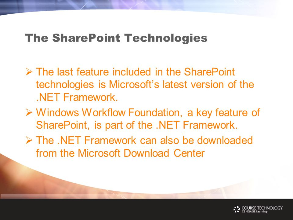 The SharePoint Technologies  The last feature included in the SharePoint technologies is Microsoft's latest version of the.NET Framework.