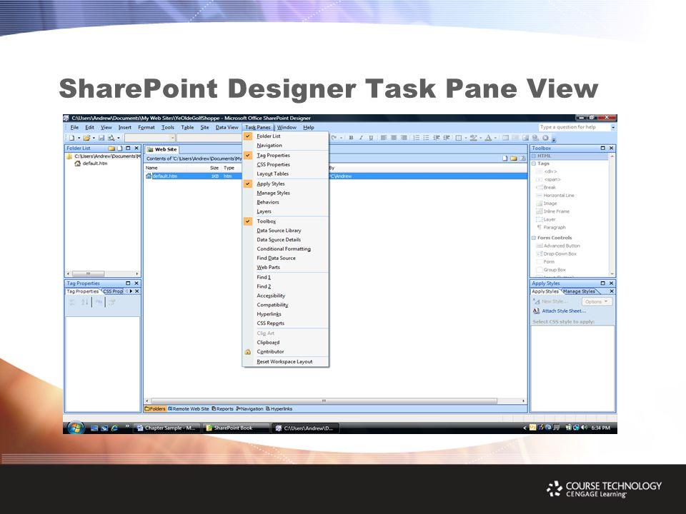 SharePoint Designer Task Pane View
