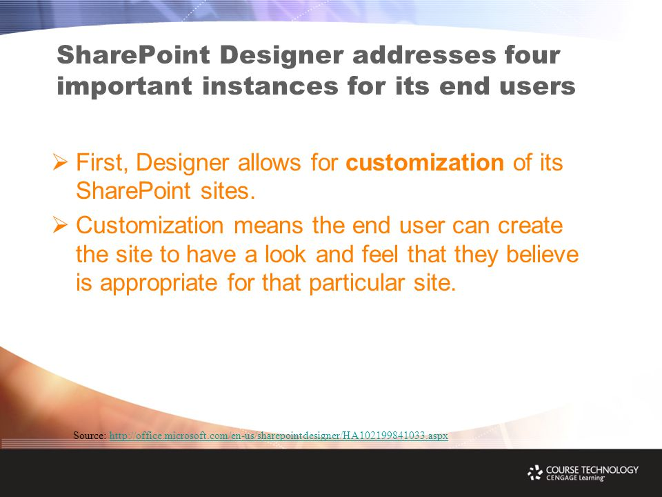 SharePoint Designer addresses four important instances for its end users  First, Designer allows for customization of its SharePoint sites.