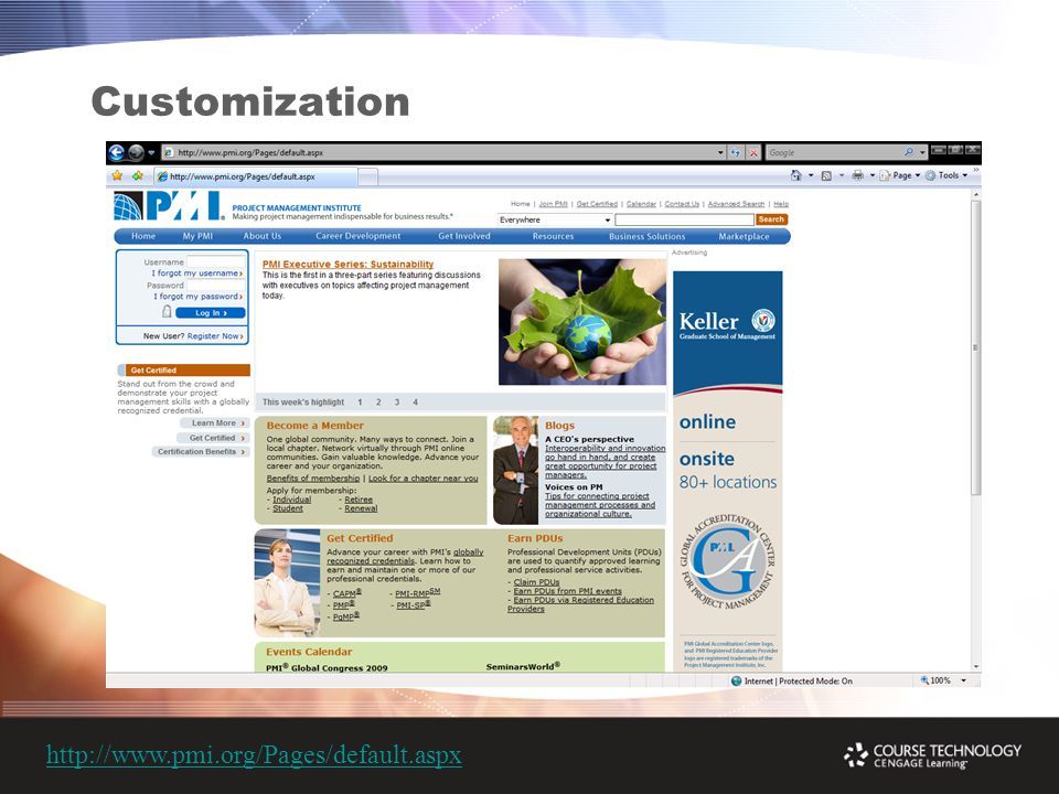 Customization http://www.pmi.org/Pages/default.aspx