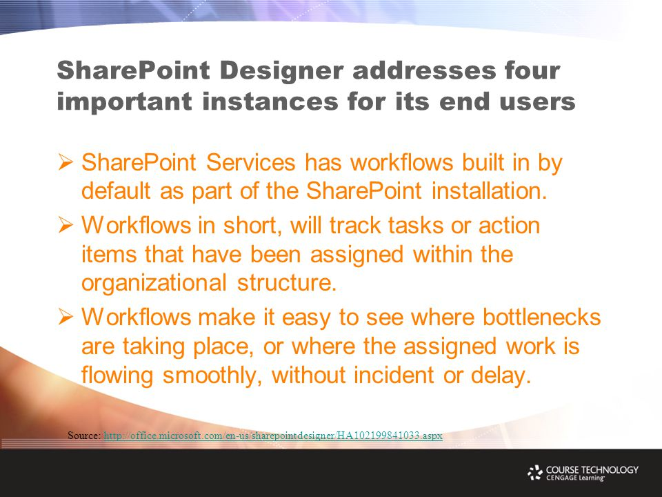 SharePoint Designer addresses four important instances for its end users  SharePoint Services has workflows built in by default as part of the SharePoint installation.