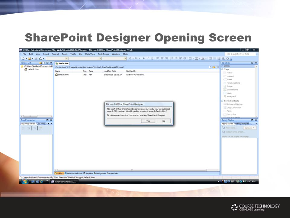 SharePoint Designer Opening Screen