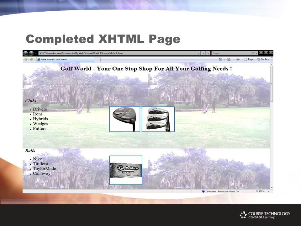 Completed XHTML Page