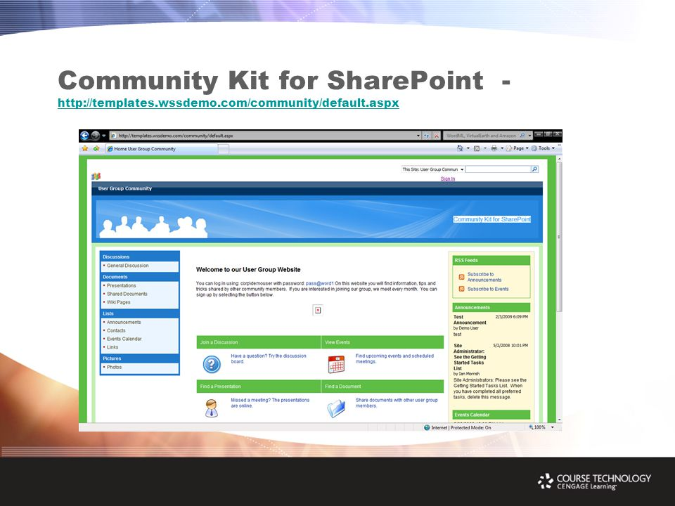 Community Kit for SharePoint - http://templates.wssdemo.com/community/default.aspx http://templates.wssdemo.com/community/default.aspx