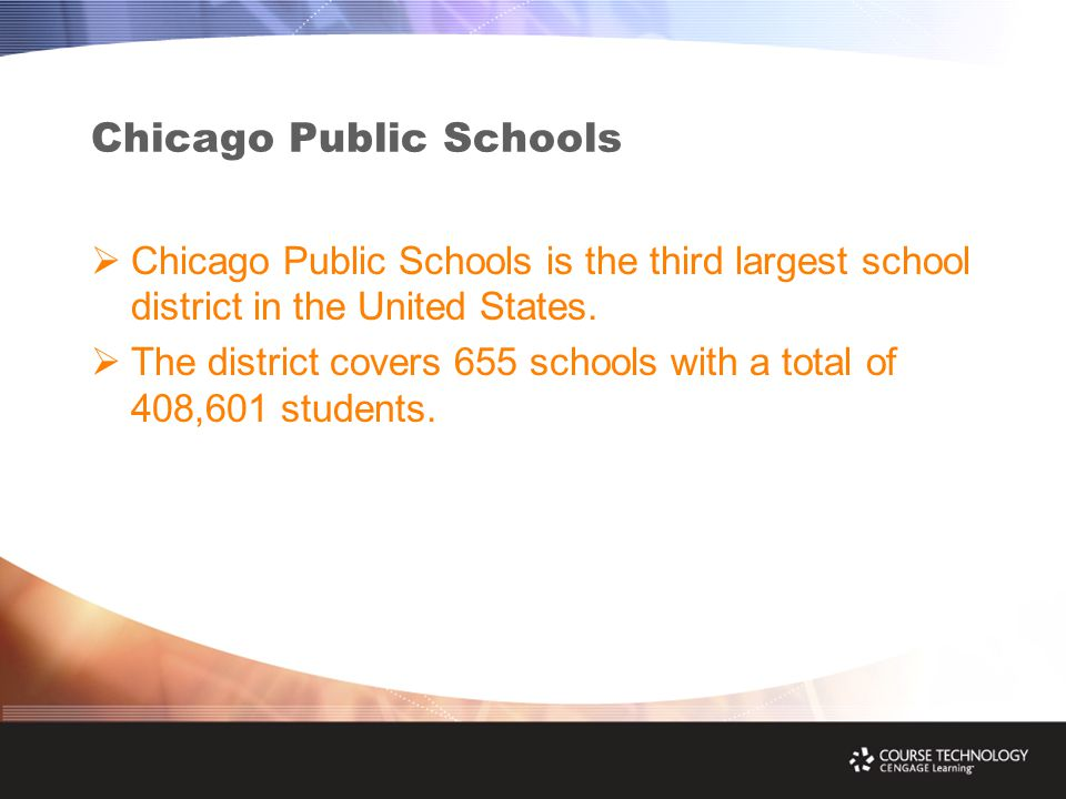 Chicago Public Schools  Chicago Public Schools is the third largest school district in the United States.