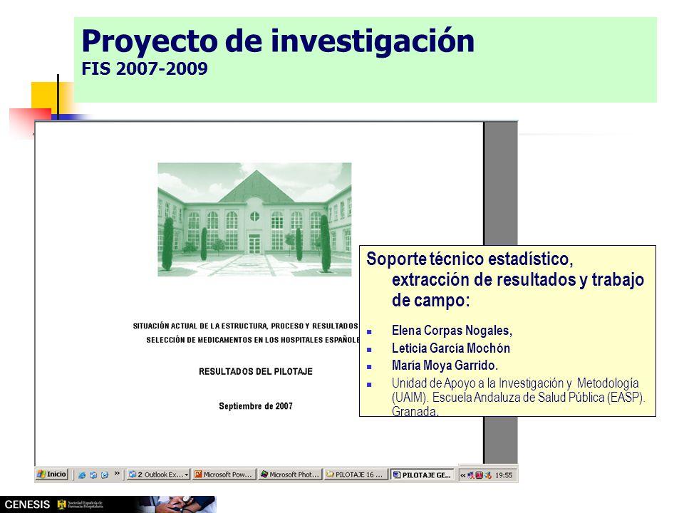 Soporte técnico estadístico, extracción de resultados y trabajo de campo: Elena Corpas Nogales, Leticia García Mochón María Moya Garrido.