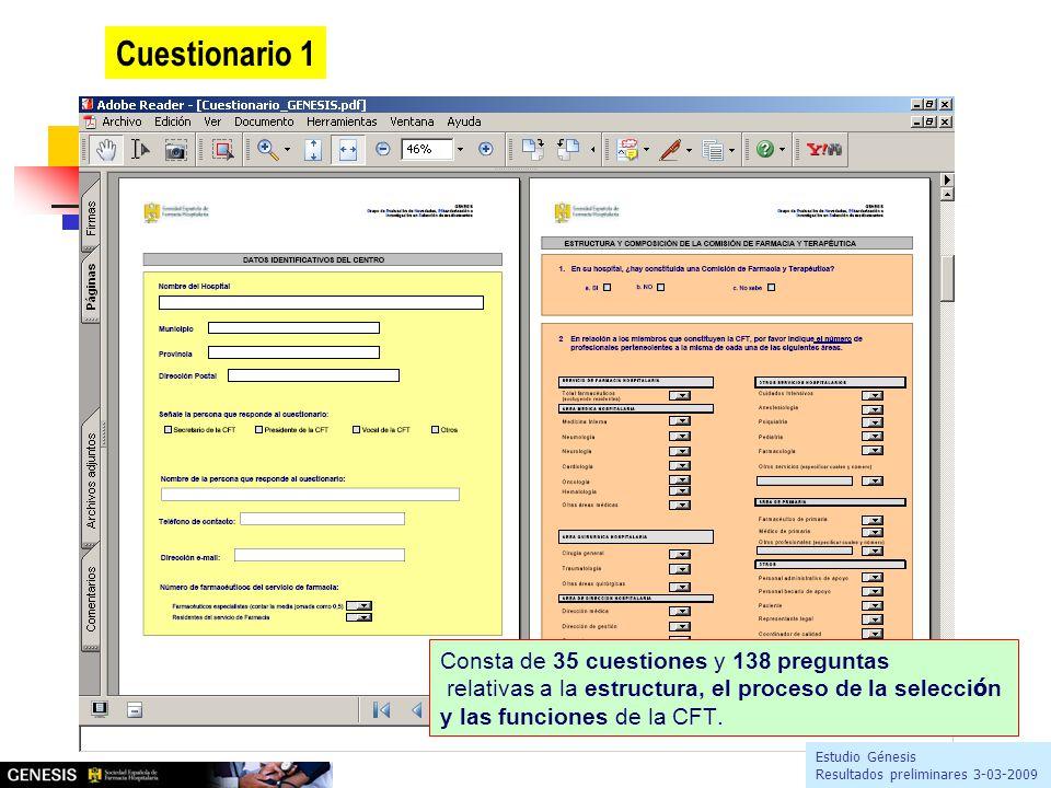 Consta de 35 cuestiones y 138 preguntas relativas a la estructura, el proceso de la selecci ó n y las funciones de la CFT.