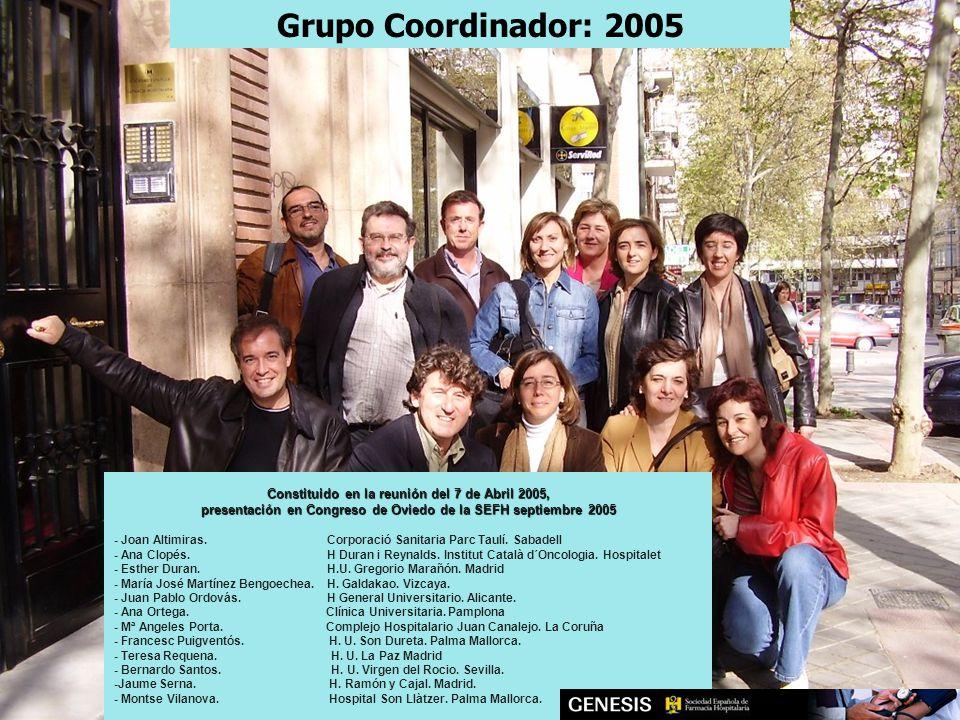 Constituido en la reunión del 7 de Abril 2005, presentación en Congreso de Oviedo de la SEFH septiembre 2005 - Joan Altimiras.