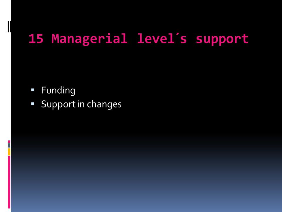 15 Managerial level´s support  Funding  Support in changes
