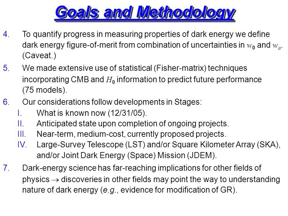 Goals and Methodology 4.To quantify progress in measuring properties of dark energy we define dark energy figure-of-merit from combination of uncertainties in w  and w a.