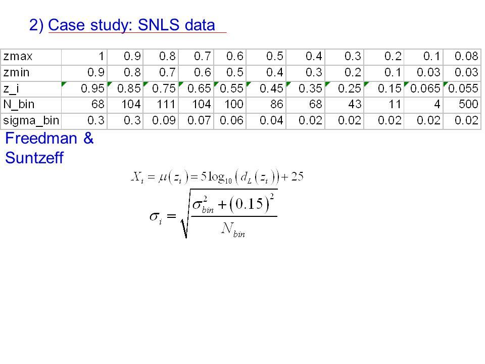 2) Case study: SNLS data Freedman & Suntzeff