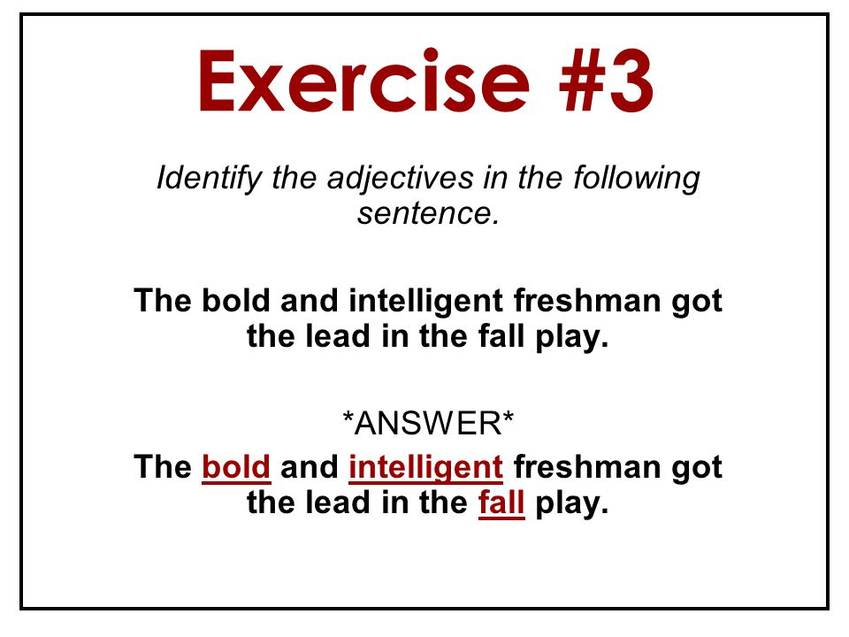 Exercise #3 Identify the adjectives in the following sentence.