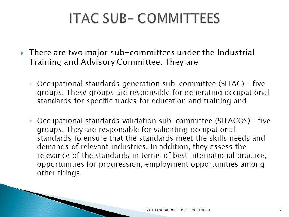  There are two major sub-committees under the Industrial Training and Advisory Committee.