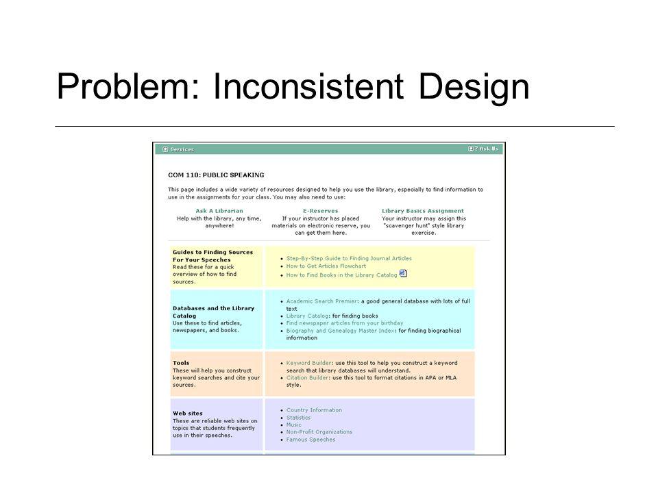 Problem: Inconsistent Design