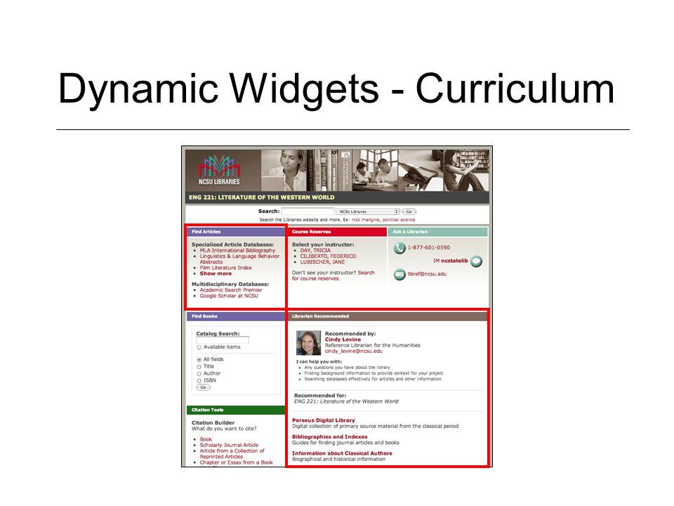 Dynamic Widgets - Curriculum
