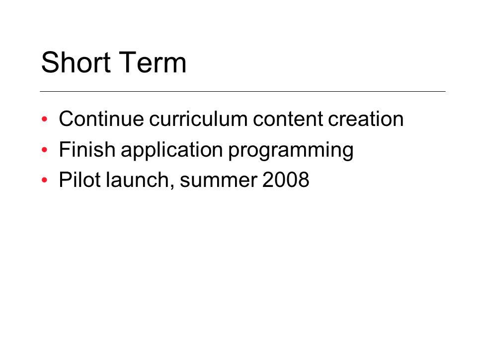 Short Term Continue curriculum content creation Finish application programming Pilot launch, summer 2008