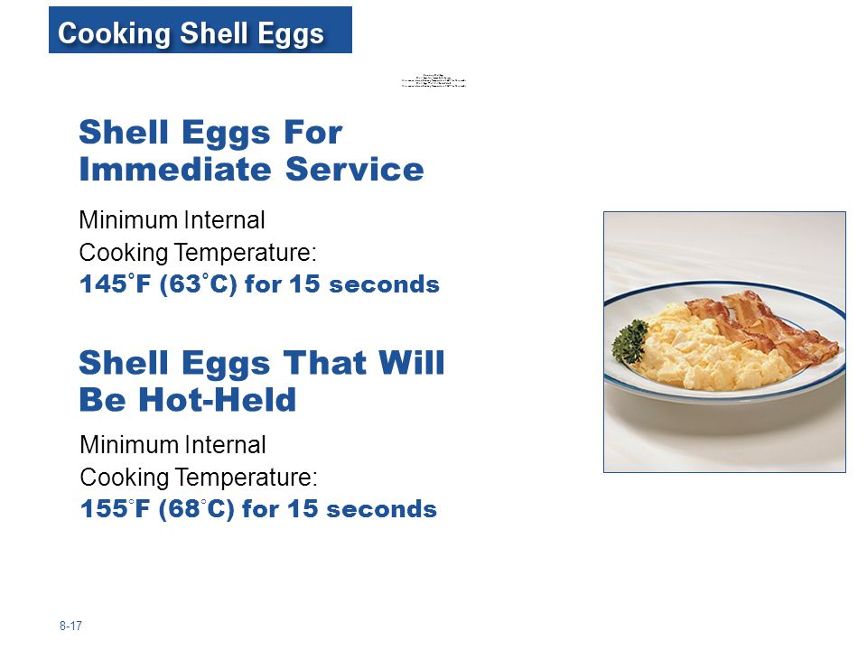 8-17 Minimum Internal Cooking Temperature: 145˚F (63˚C) for 15 seconds Shell Eggs For Immediate Service Shell Eggs That Will Be Hot-Held Minimum Inter