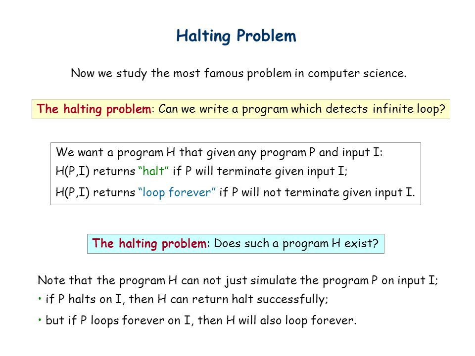 Halting Problem Now we study the most famous problem in computer science.