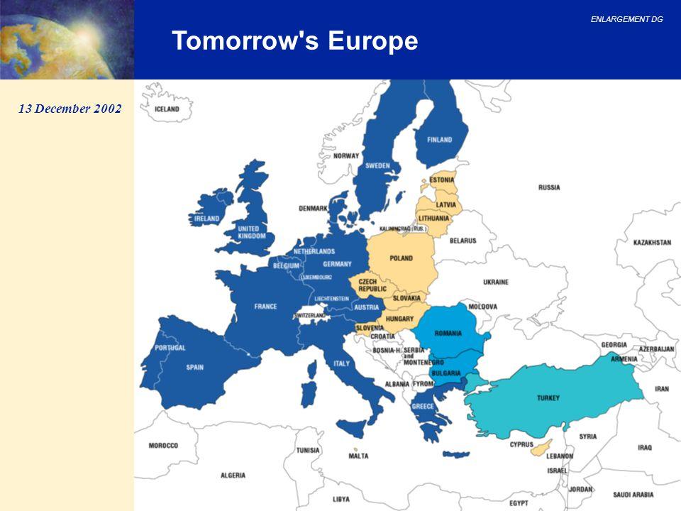 ENLARGEMENT DG 9 Tomorrow's Europe 13 December 2002