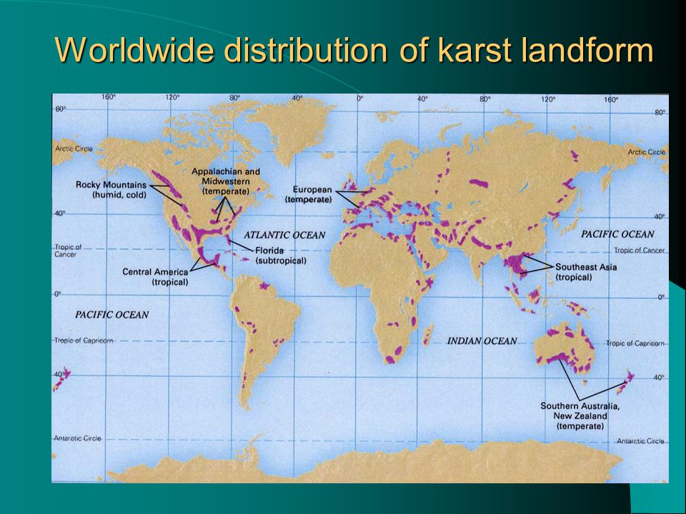 Worldwide distribution of karst landform