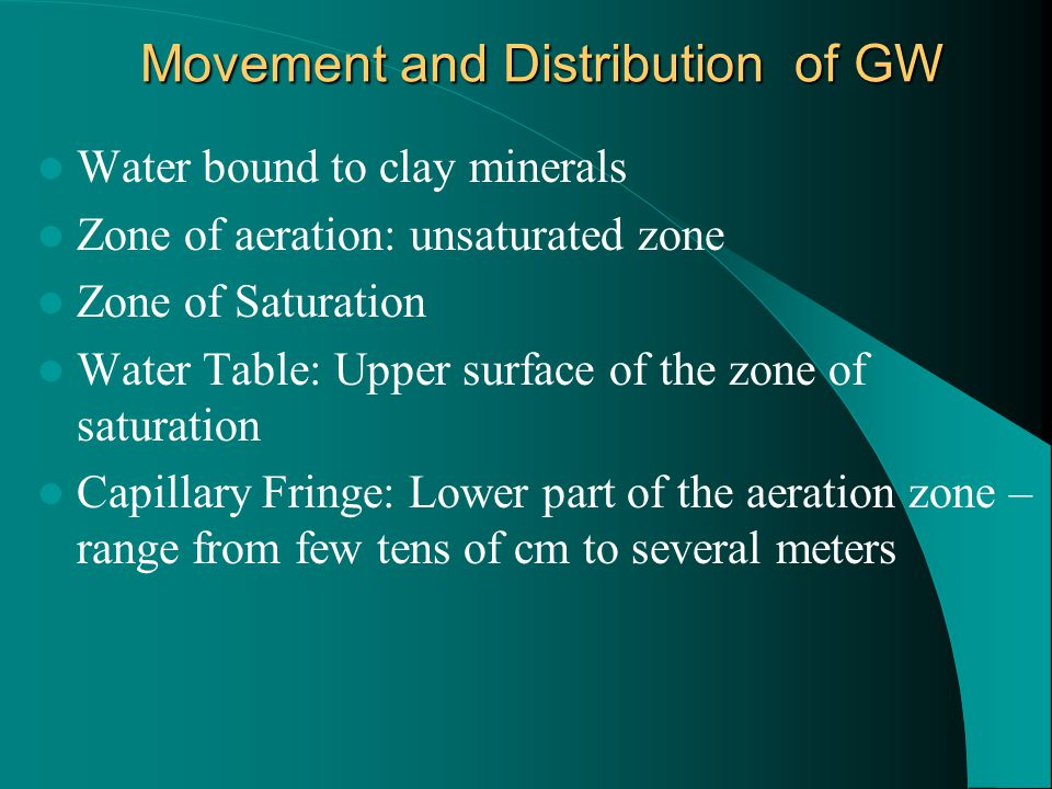 Groundwater Movement For groundwater to flow- need porous and permeable materials Porosity is the percent of pore spaces in relation to the total soil/rock/sediment volume (Primary Porosity: Porosity that develops as a rock forms; Secondary Porosity: Develops after a rock has formed) Permeability is a measure of the ability of rock/sediment to transmit fluid Groundwater flow occurs when there is a hydraulic gradient Hydraulic conductivity is the ability to transmit groundwater.