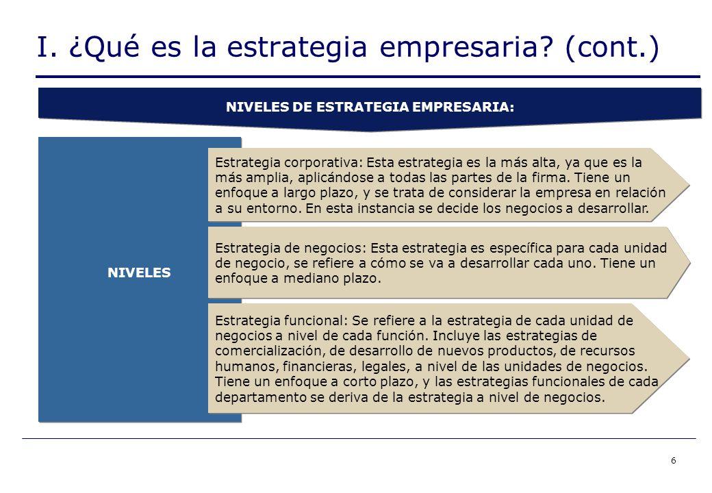 6 NIVELES Estrategia corporativa: Esta estrategia es la más alta, ya que es la más amplia, aplicándose a todas las partes de la firma.