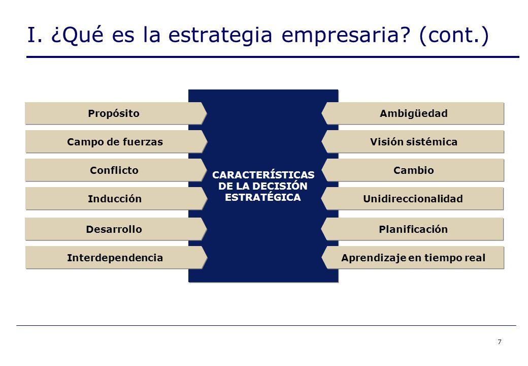 7 CARACTERÍSTICAS DE LA DECISIÓN ESTRATÉGICA CARACTERÍSTICAS DE LA DECISIÓN ESTRATÉGICA Propósito Conflicto Desarrollo Cambio Ambigüedad I.
