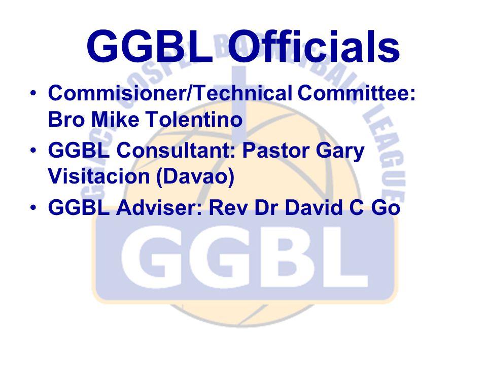 GGBL Officials Commisioner/Technical Committee: Bro Mike Tolentino GGBL Consultant: Pastor Gary Visitacion (Davao) GGBL Adviser: Rev Dr David C Go