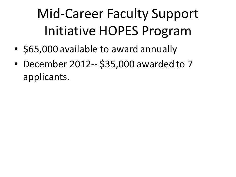 Mid-Career Faculty Support Initiative HOPES Program $65,000 available to award annually December 2012-- $35,000 awarded to 7 applicants.