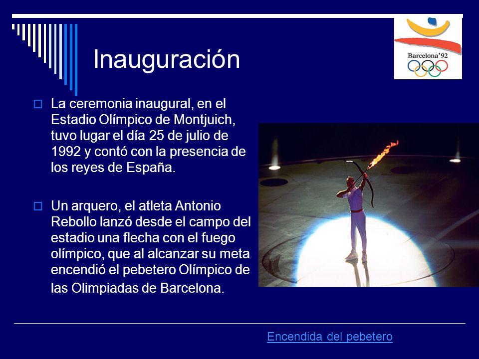 Inauguración  La ceremonia inaugural, en el Estadio Olímpico de Montjuich, tuvo lugar el día 25 de julio de 1992 y contó con la presencia de los reyes de España.
