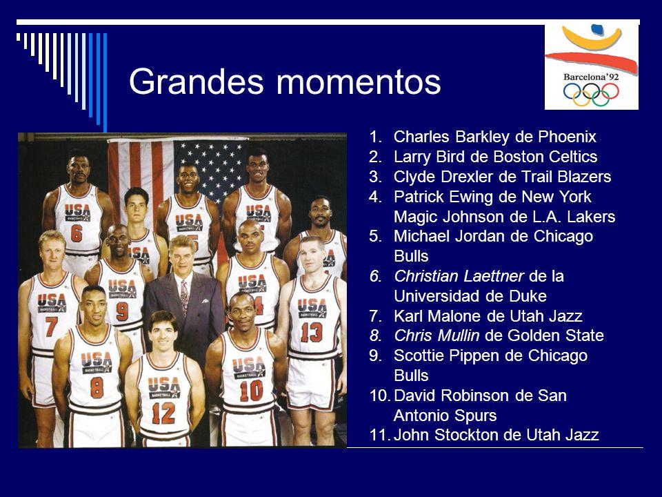 Grandes momentos 1.Charles Barkley de Phoenix 2.Larry Bird de Boston Celtics 3.Clyde Drexler de Trail Blazers 4.Patrick Ewing de New York Magic Johnson de L.A.