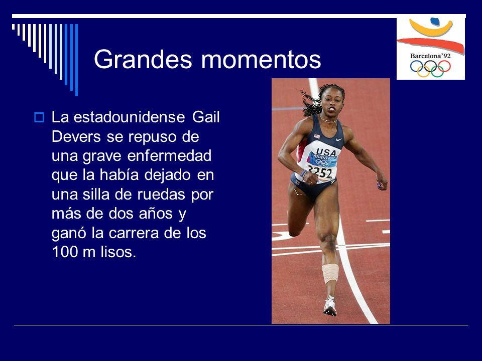  La estadounidense Gail Devers se repuso de una grave enfermedad que la había dejado en una silla de ruedas por más de dos años y ganó la carrera de los 100 m lisos.