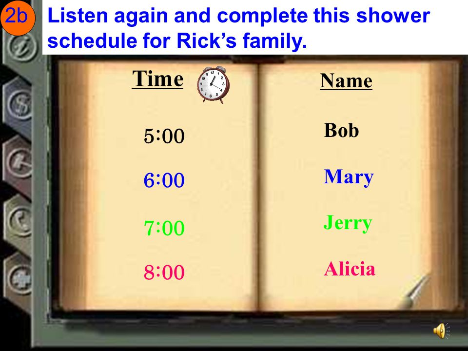Listen to the conversation. Complete these sentences with words from the box. Rick has_______brothers and________sisters.Rick's family has _____shower