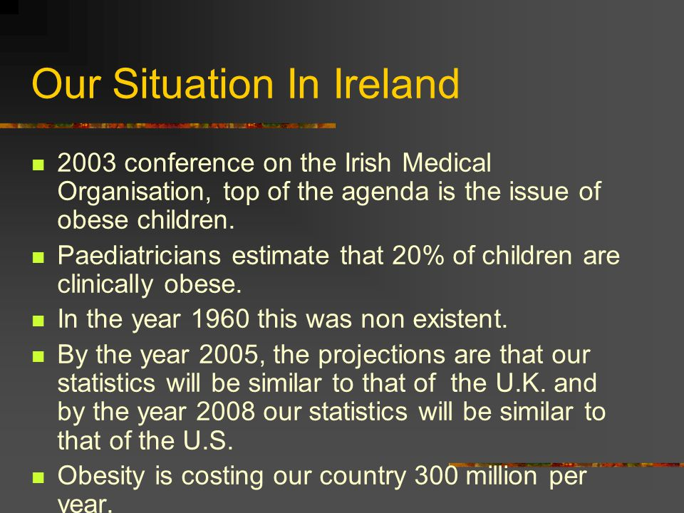 Our Situation In Ireland 2003 conference on the Irish Medical Organisation, top of the agenda is the issue of obese children.
