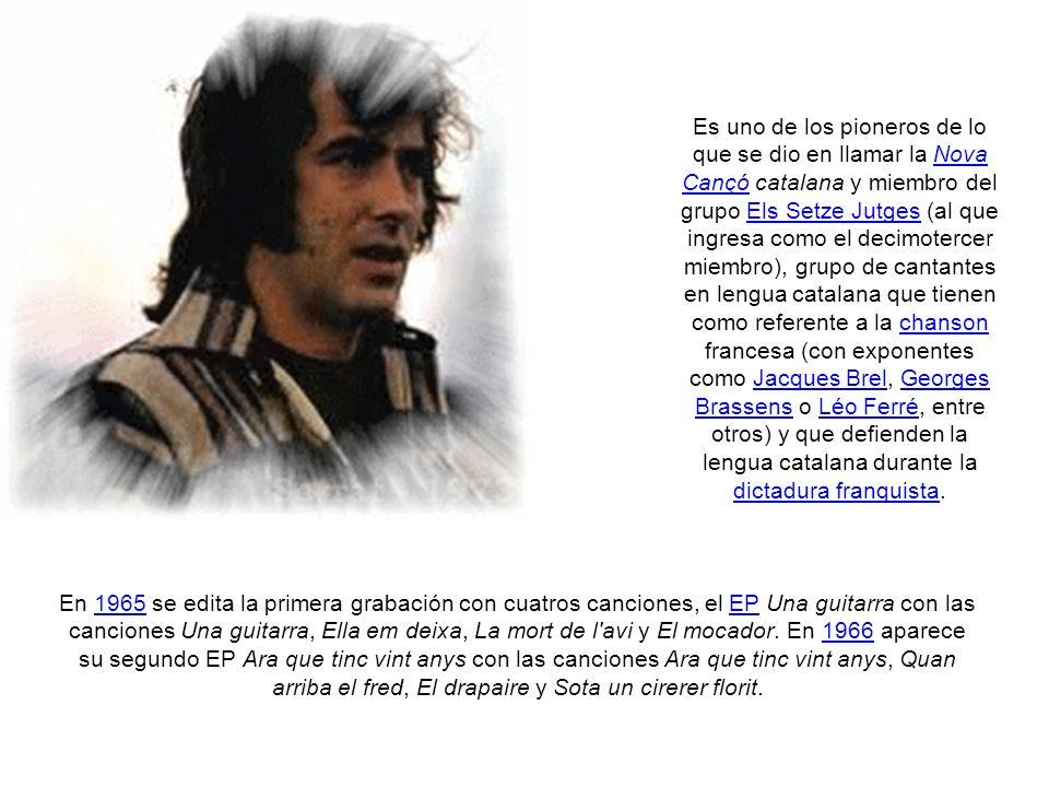 Inicios musicales Serrat realiza estudios de perito industrial a la vez que tocaba la guitarra como aficionado.
