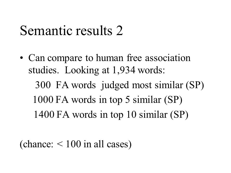 Semantic results 2 Can compare to human free association studies.