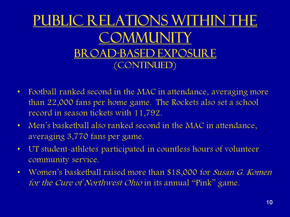 Public Relations within the Community Broad-based Exposure (continued) Football ranked second in the MAC in attendance, averaging more than 22,000 fans per home game.