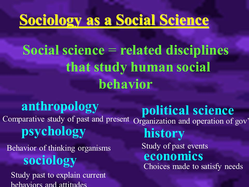 Sociology as a Social Science Social science = related disciplines that study human social behavior anthropology psychology sociology economics political science history Comparative study of past and present Behavior of thinking organisms Study of past events Choices made to satisfy needs Organization and operation of gov't Study past to explain current behaviors and attitudes