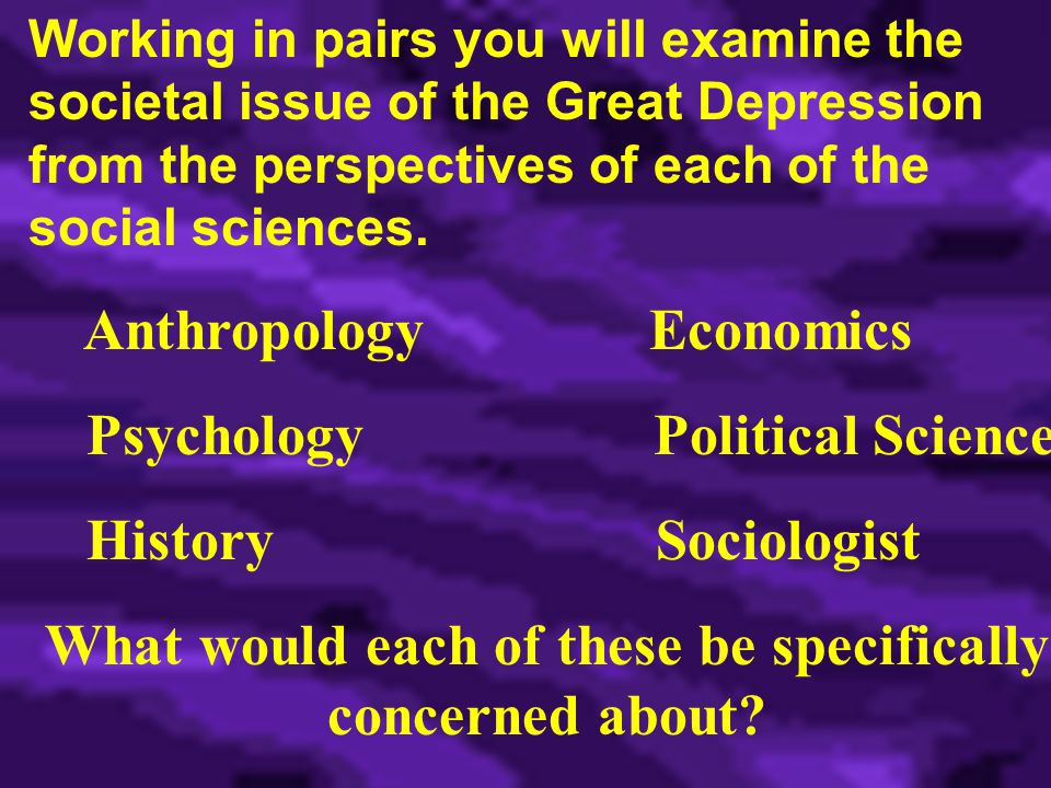 Working in pairs you will examine the societal issue of the Great Depression from the perspectives of each of the social sciences.