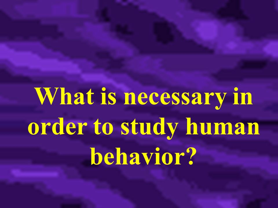 What is necessary in order to study human behavior