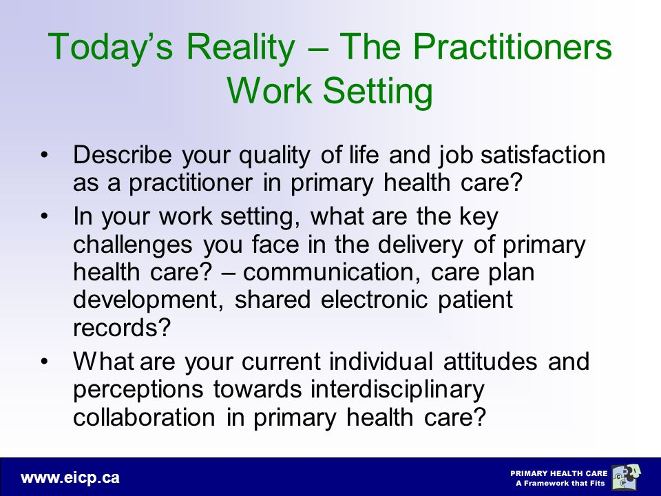 www.eicp.ca Today's Reality – The Practitioners Work Setting Describe your quality of life and job satisfaction as a practitioner in primary health ca