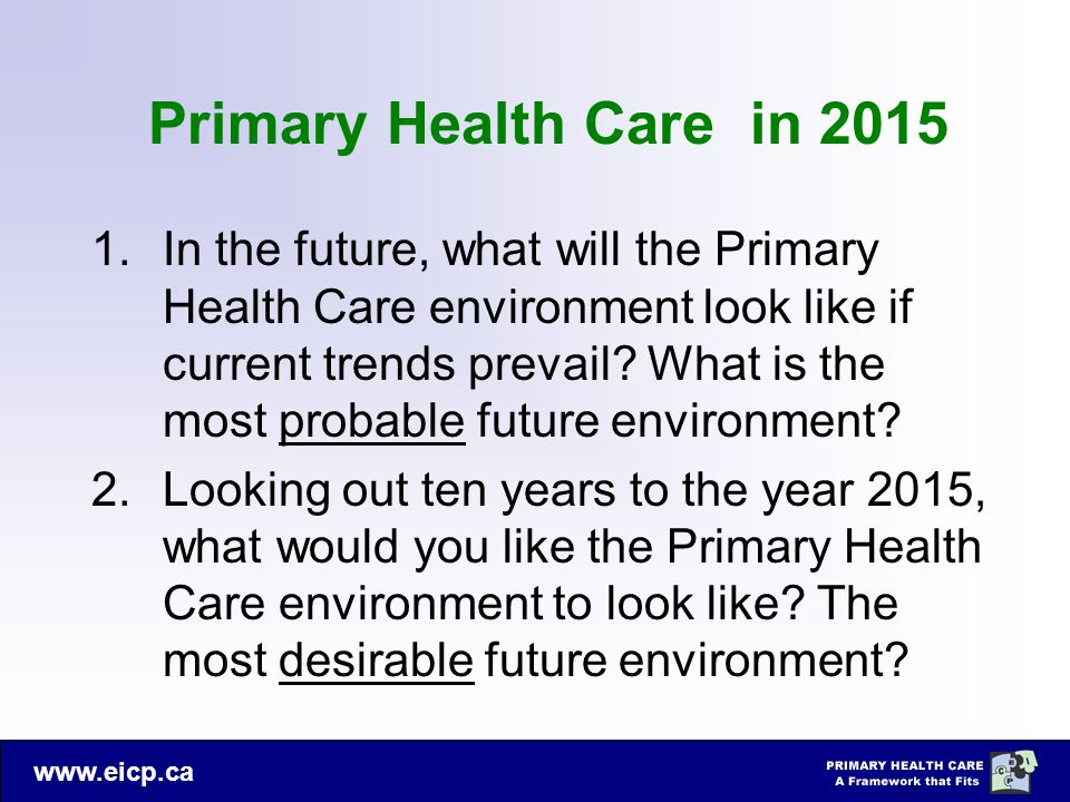 www.eicp.ca Primary Health Care in 2015 1.In the future, what will the Primary Health Care environment look like if current trends prevail? What is th