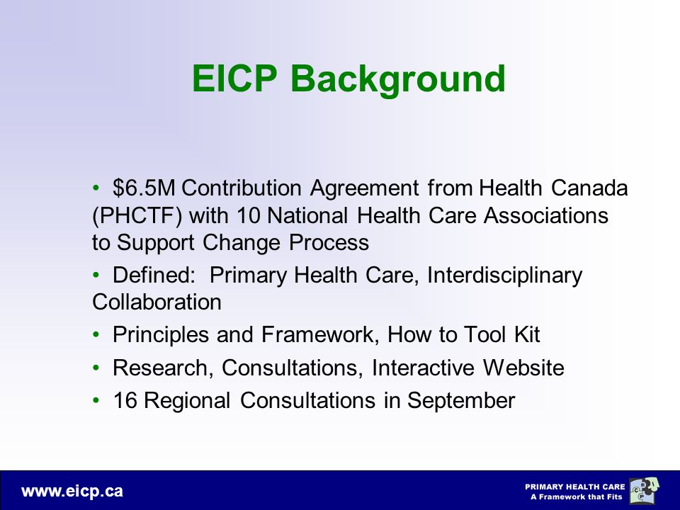 www.eicp.ca EICP Background $6.5M Contribution Agreement from Health Canada (PHCTF) with 10 National Health Care Associations to Support Change Proces