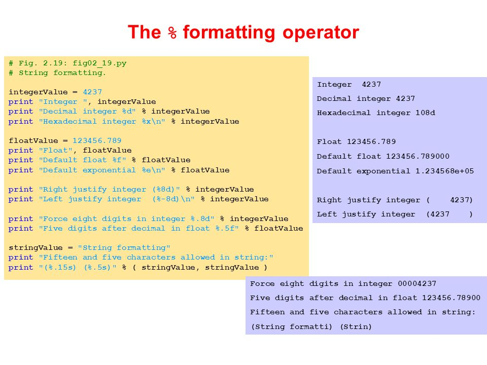 # Fig. 2.19: fig02_19.py # String formatting.