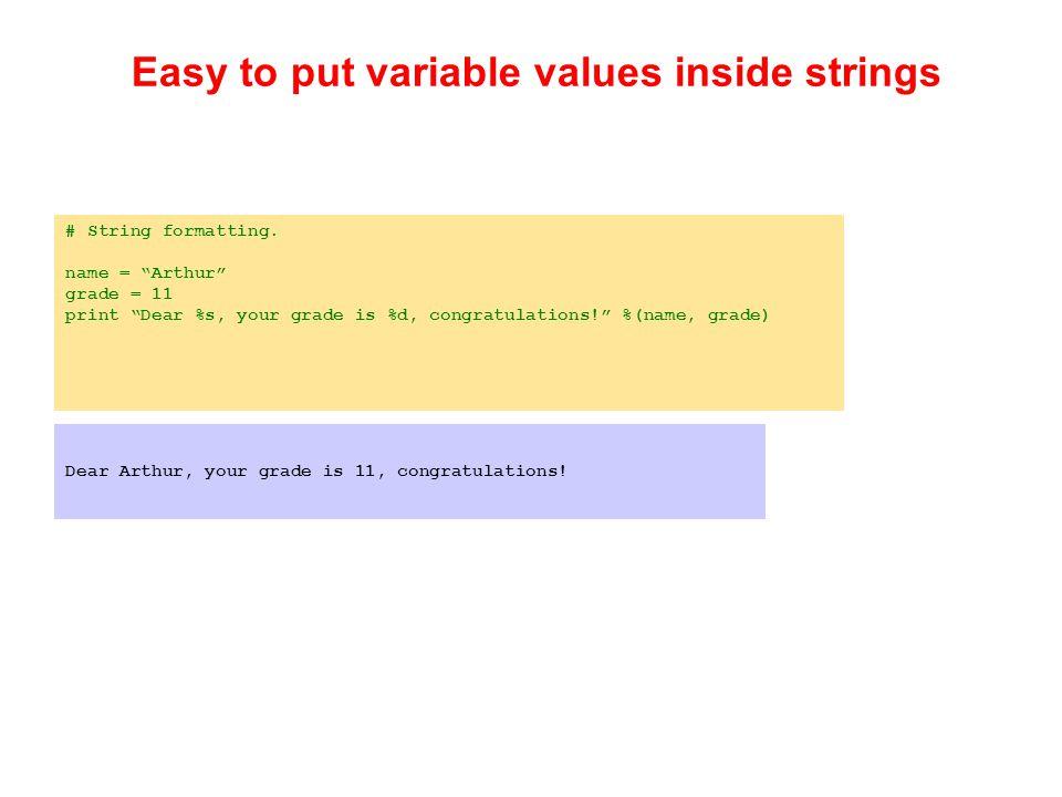# String formatting.